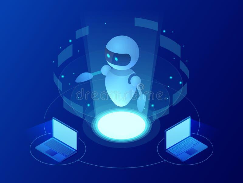Robot isométrico que aprende o que soluciona concepto de los problemas Ejemplo del vector del negocio de la inteligencia artifici ilustración del vector