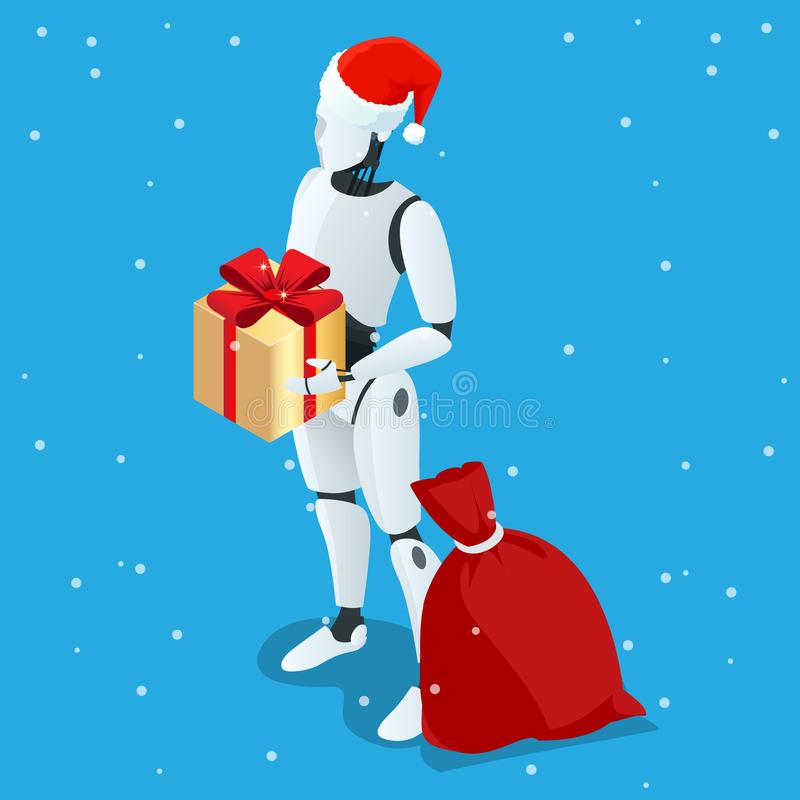 Robot isométrique de Noël, Santa Drone Fast Delivery des marchandises dans la ville Concept technologique d'innovation d'expéditi illustration stock