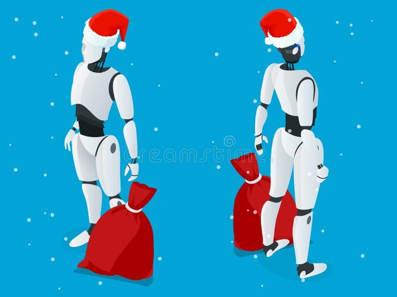 Robot isométrique de Noël, Santa Drone Fast Delivery des marchandises dans la ville Concept technologique d'innovation d'expéditi illustration libre de droits