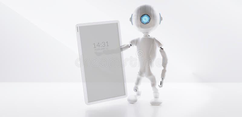 Robot A Ja telefon komórkowy odizolowywający na białym 3d-illustration ilustracji