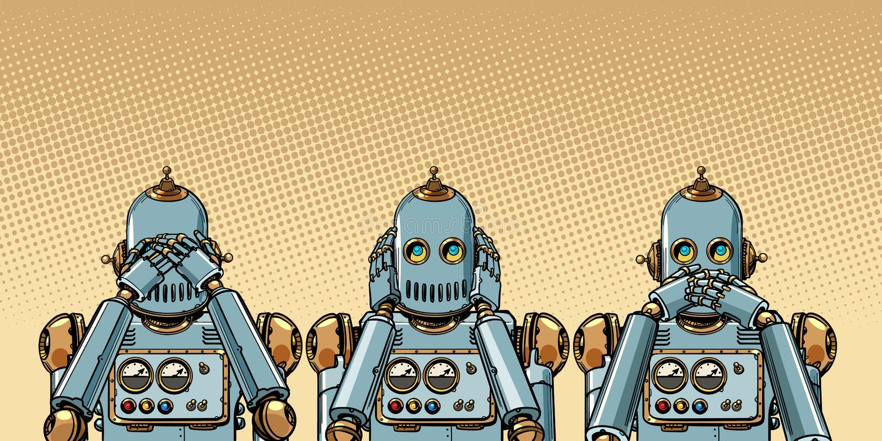 robot Jag ser ingenting, hör ingenting, säger ingenting vektor illustrationer