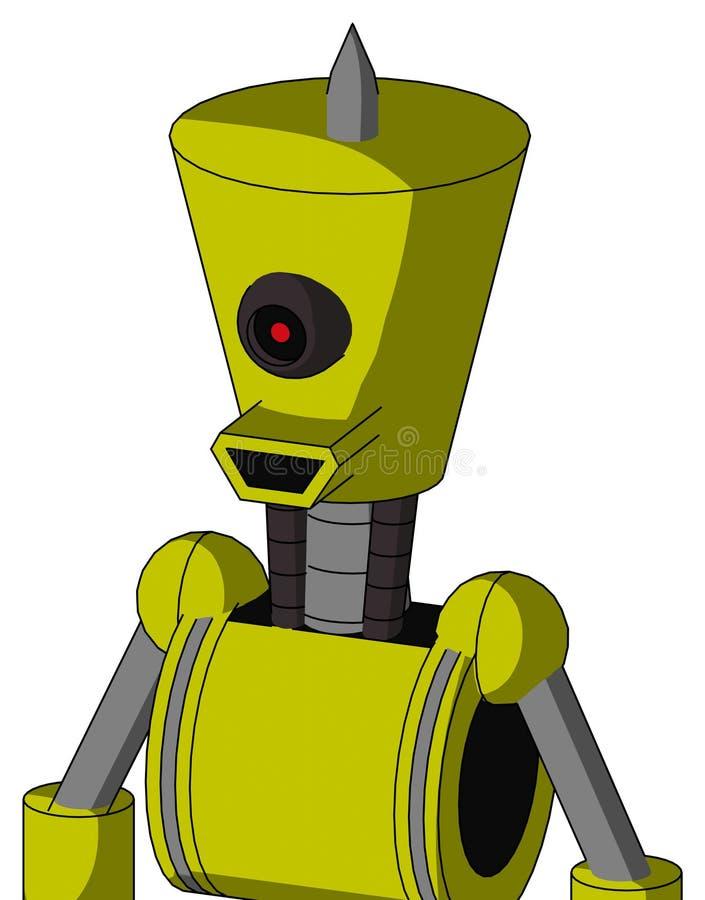 Robot Jaune À La Tête De Cylindre Conique Et À La Bouche Heureuse Et Aux Cyclops Noirs Oeil Et Astuce D'Araignée illustration de vecteur