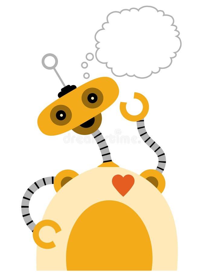 Robot jaune avec penser de bras de Jiggly image stock