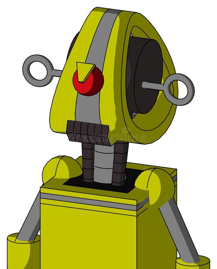 Robot Jaune Avec Tête Droïde Et Bouche De Dents Sombres Et Cyclops En Colère illustration de vecteur