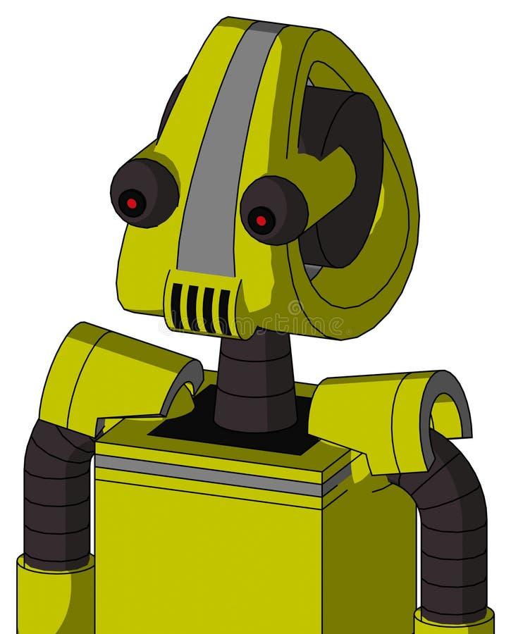 Robot Jaune Avec Tête Droïde Et Haut-Parleurs Bouche Et Oeil Rouge illustration libre de droits