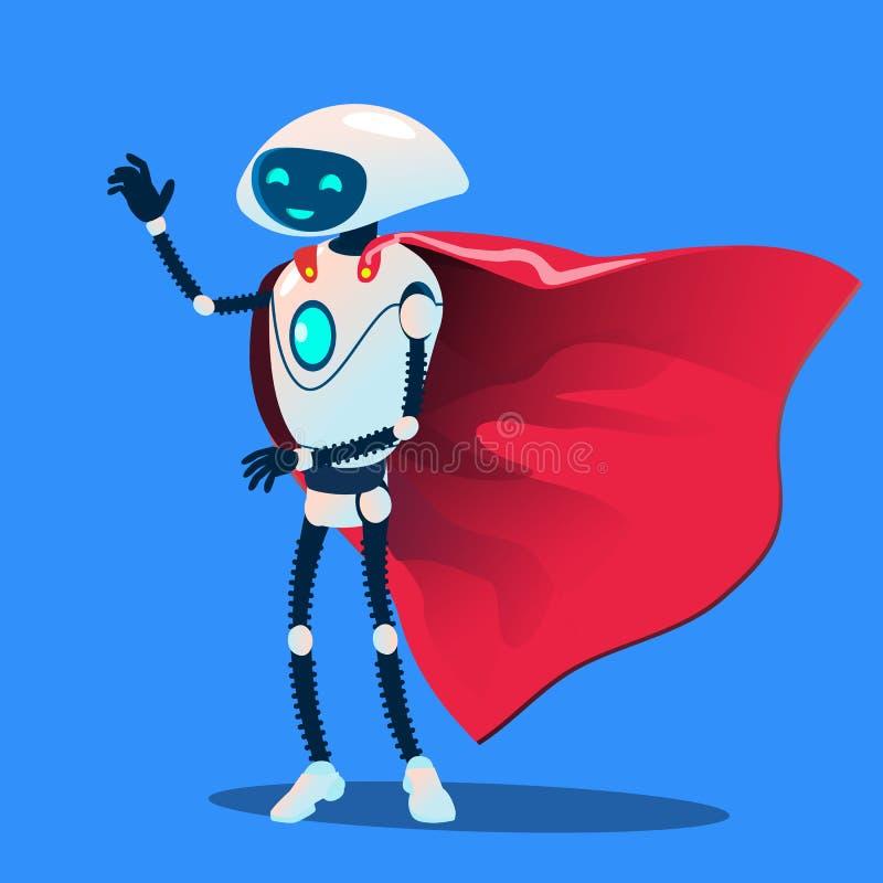 Robot Jest ubranym Czerwonego Super bohatera peleryny wektor button ręce s push odizolowana początku ilustracyjna kobieta ilustracja wektor