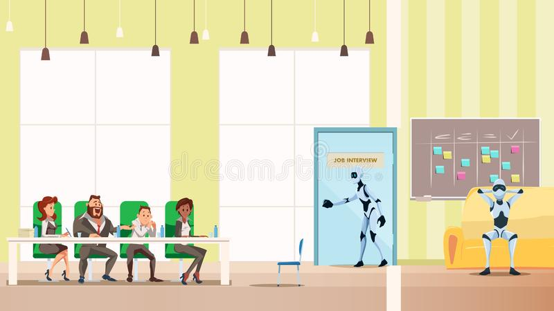 Robot Job Interview Process in Open Space Office. Male Bot Candidate Walk into Door. Artificial Intelligence in Corridor. Human Boss HR Sit at Working Table vector illustration