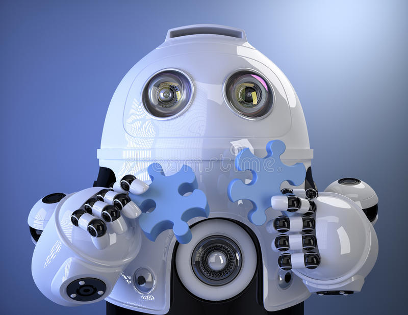 Robot joining puzzle. Contains clipping path stock illustration