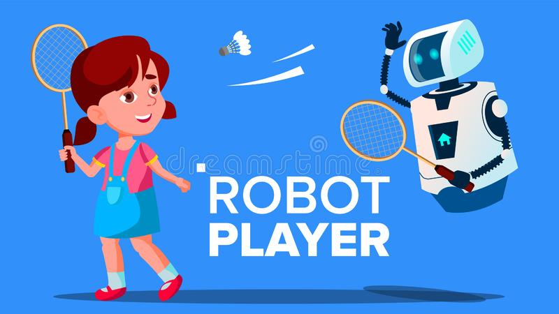 Robot jouant au badminton avec un vecteur de fille d'enfant Illustration d'isolement illustration stock