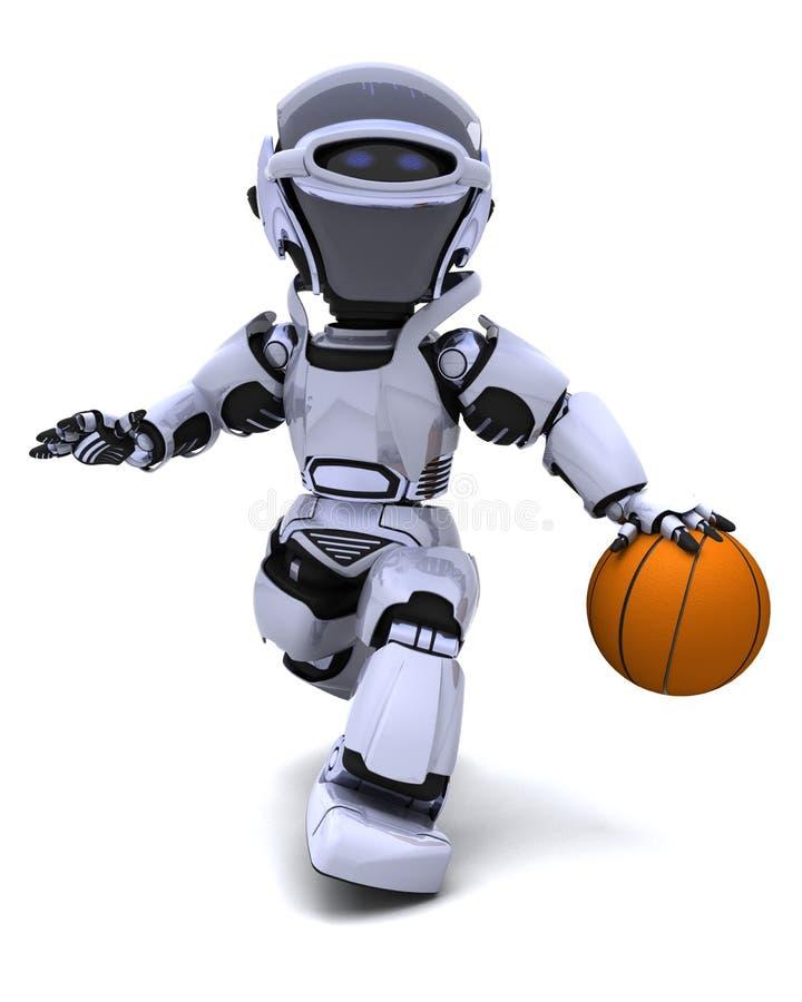 Robot jouant au basket-ball illustration stock