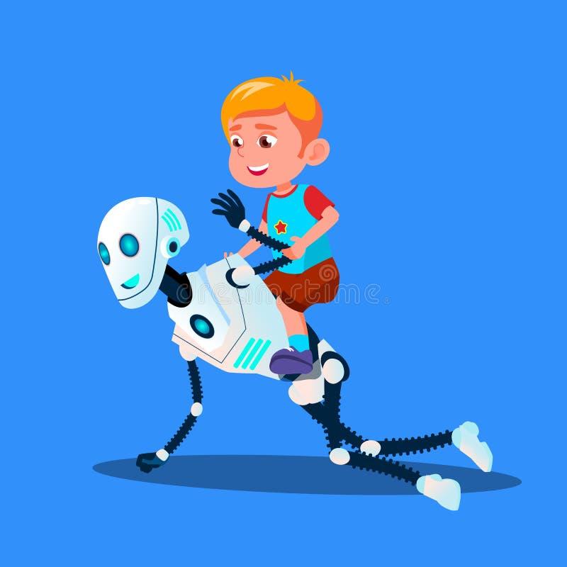 Robot jouant avec le garçon de petit enfant s'asseyant sur son vecteur arrière Illustration d'isolement illustration de vecteur