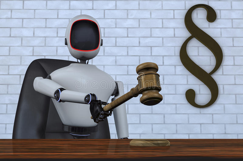 A robot judge of the future stock illustration