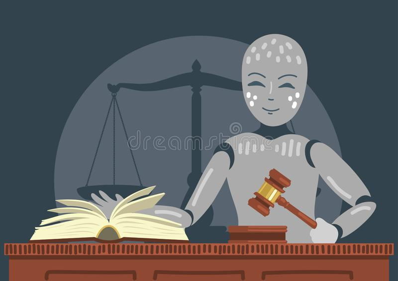 Robot judge holding gavel. Robot judge with gavel and book. Futuristic concept royalty free illustration