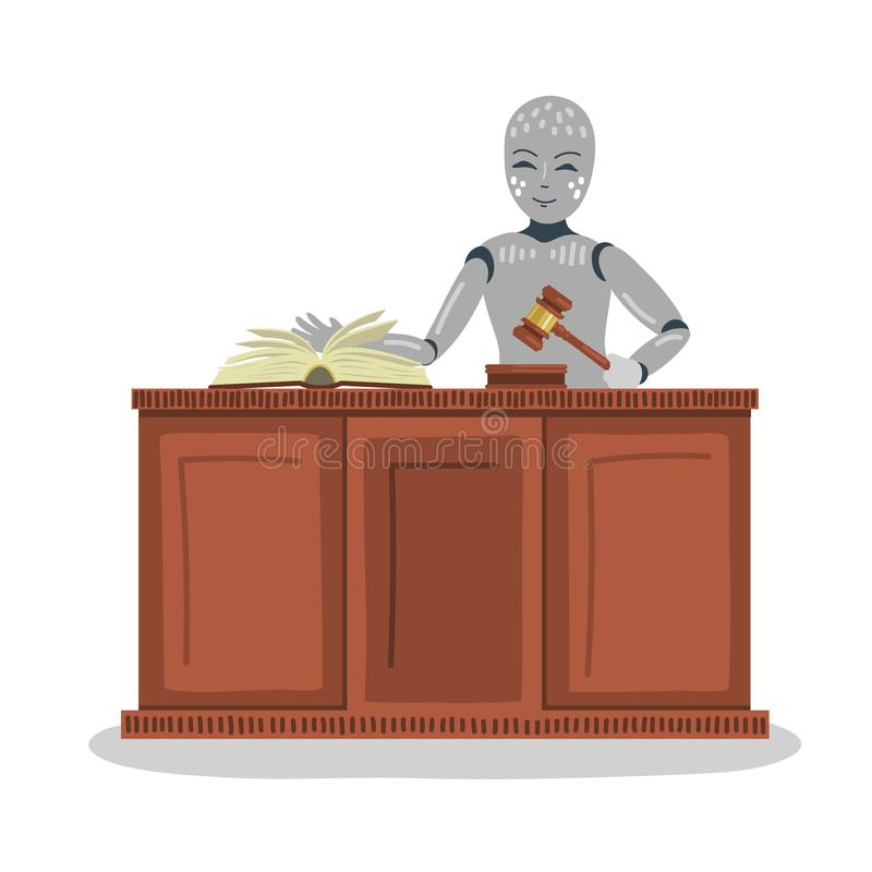 Robot judge holding gavel. royalty free illustration