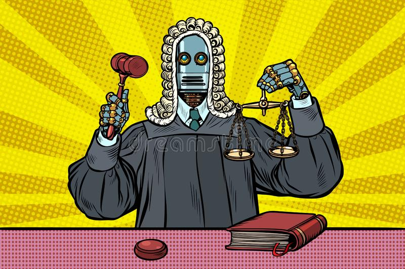 Robot judge in robes and wig stock illustration