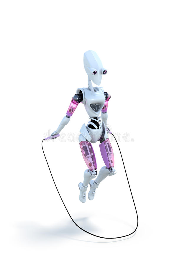 Robot with jump rope stock photos