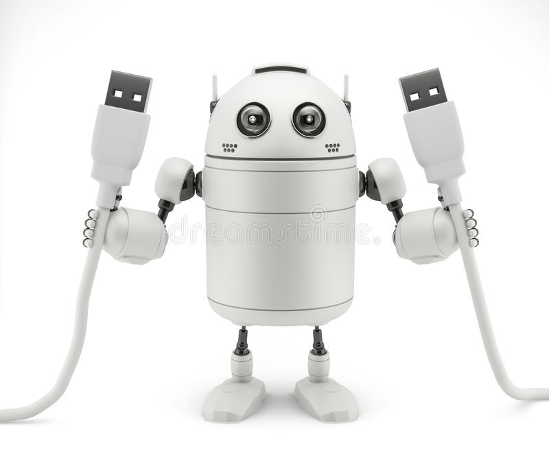 Robot keep in hand a usb cable. Rendered over white background vector illustration