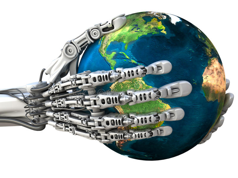 Robot keeps the Earth globe. Planet in hands at high technology. Concept royalty free illustration