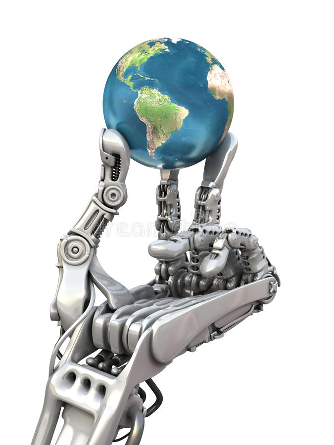 Robot keeps the Earth. Planet in hands at high technology. Conceptual 3d illustration stock illustration