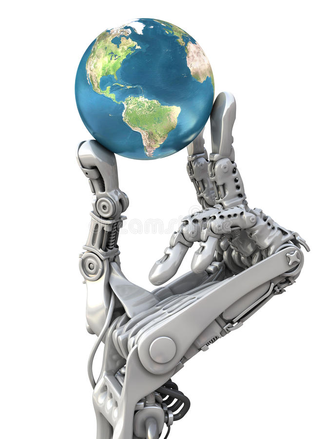 Robot keeps the Earth. Planet in hands at high technology. Conceptual fantasy 3d illustration. Robot keeps the blue globe. Planet Earth in hands at high stock illustration