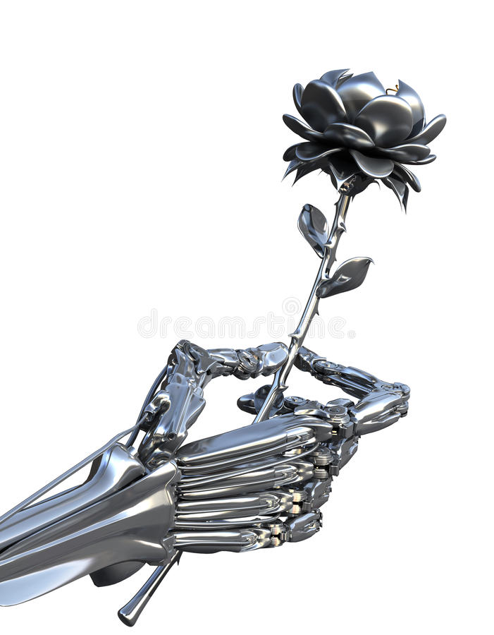 Robot keeps metallic flower. Artifical Intelligence and human feelings. Conceptual High technology illustration stock illustration