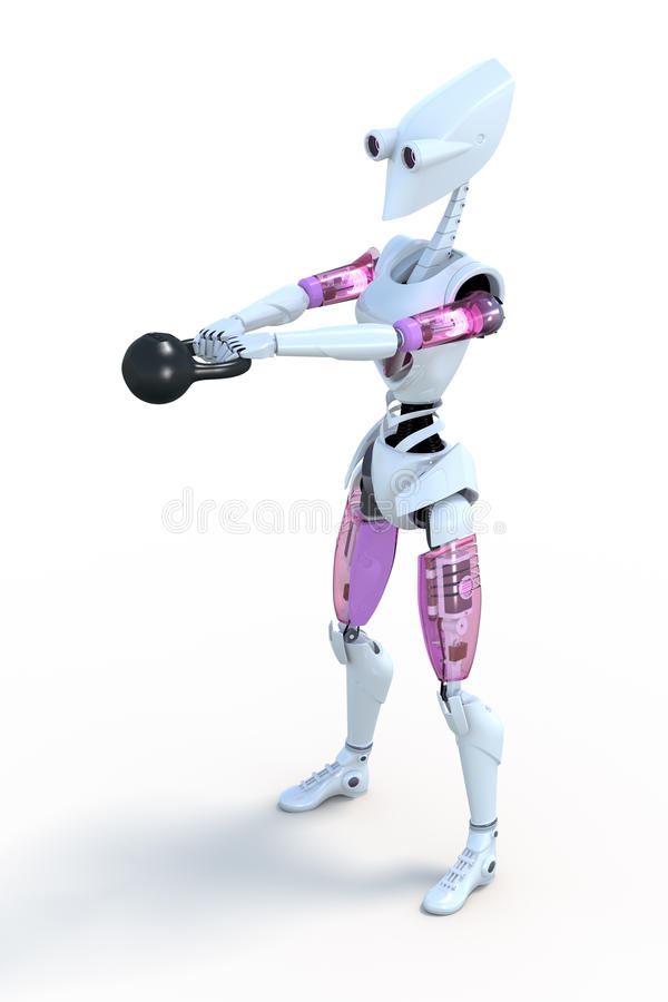 Robot with Kettlebell stock images