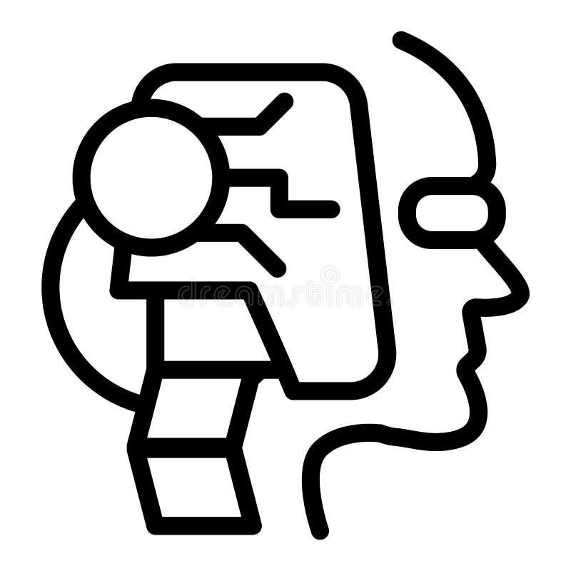 Robot kierowniczej linii ikona Twarz android wektorowa ilustracja odizolowywająca na bielu Sztucznej inteligenci charakteru kontu royalty ilustracja
