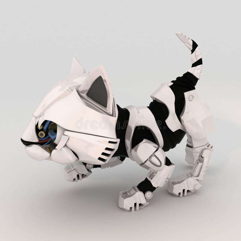 Download Robot Kitten, Crouching, Over White Stock Image - Image: 6834081