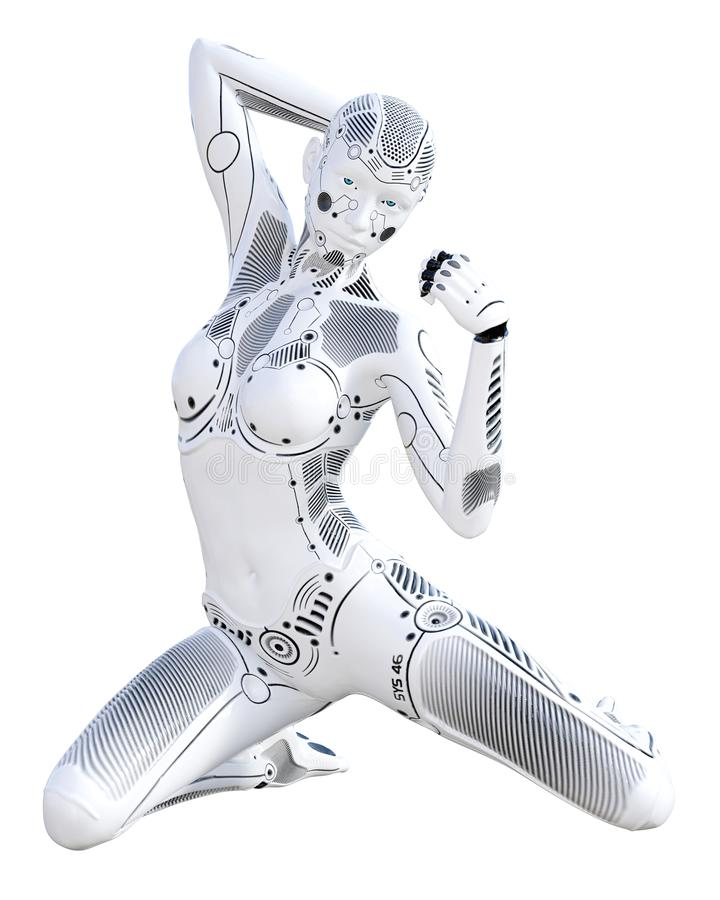 Robot kobieta Białego metalu droid sztuczna inteligencja ilustracji