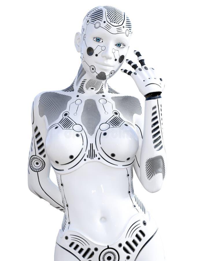 Robot kobieta Bia?ego metalu droid sztuczna inteligencja ilustracja wektor