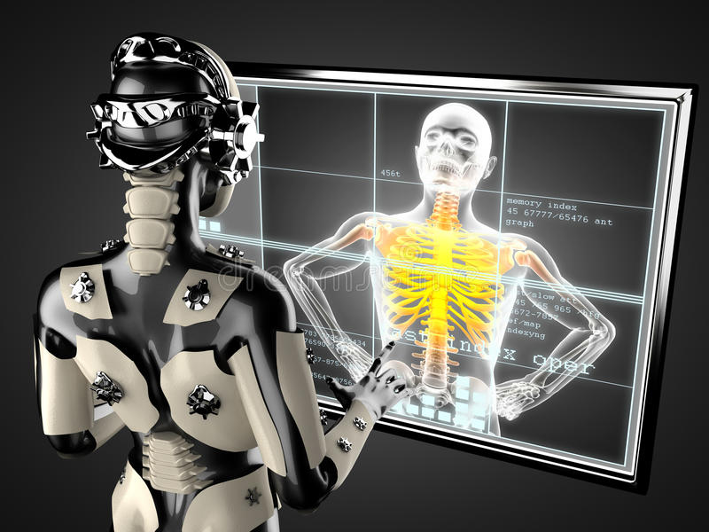 Robot kobieta manipuluje holograma displey ilustracji