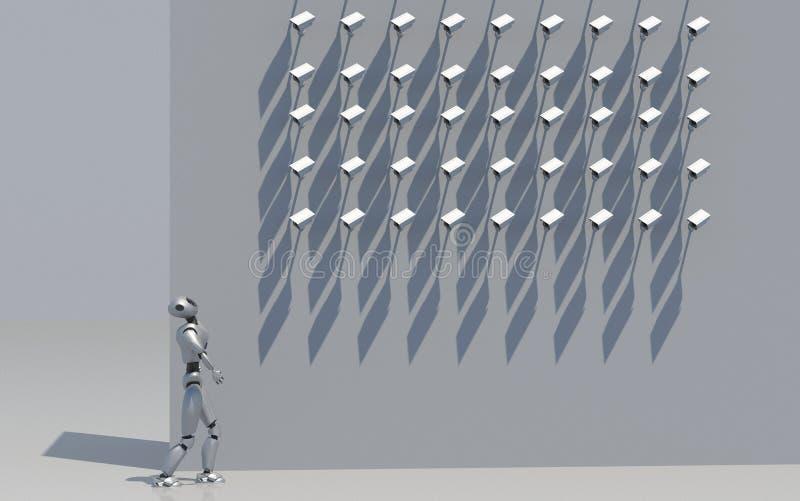 Robot kobieta pod camers, 3d odpłaca się royalty ilustracja
