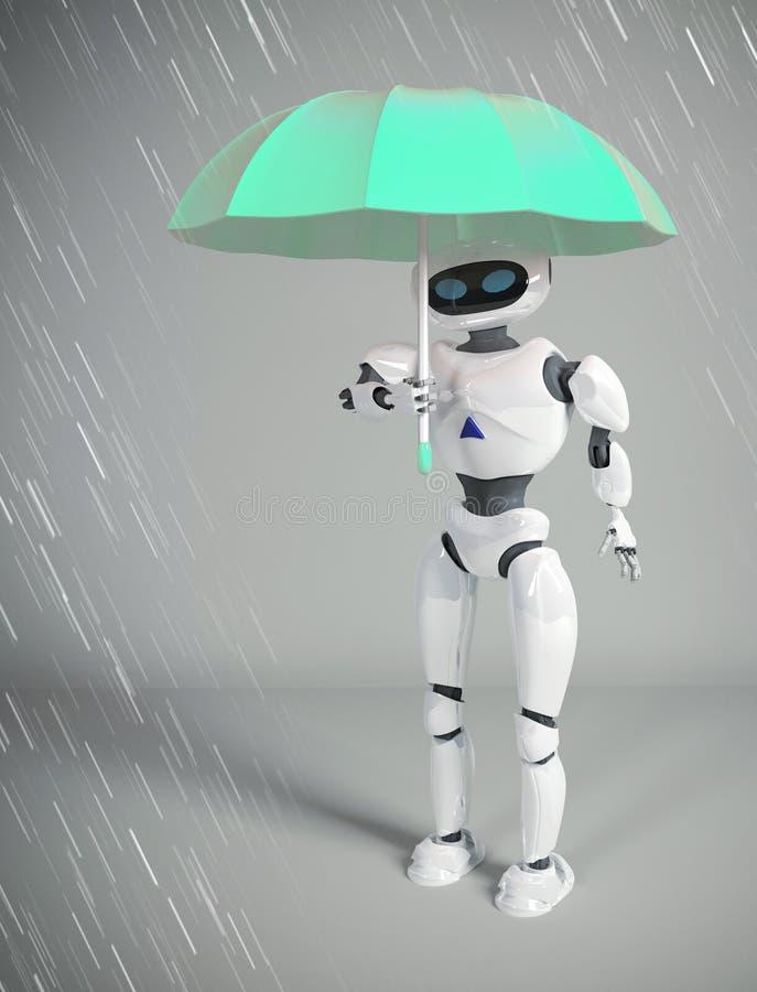 Robot kobieta z parasolem, 3d odpłaca się ilustracja wektor