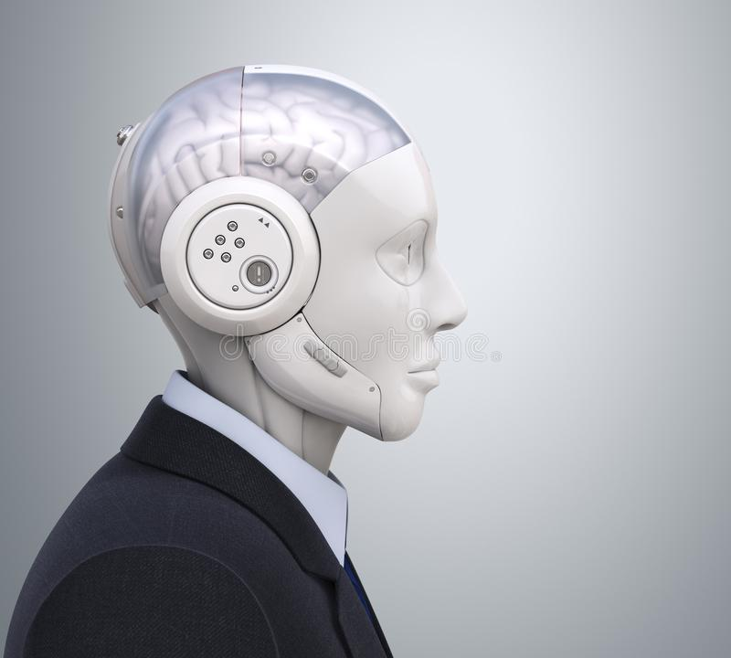 Robot in kostuum in profiel vector illustratie