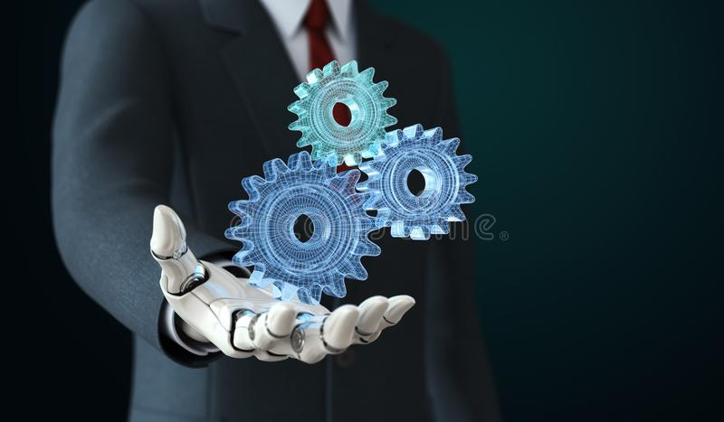 Robot in kostuumholding coghwheels in zijn hand royalty-vrije illustratie