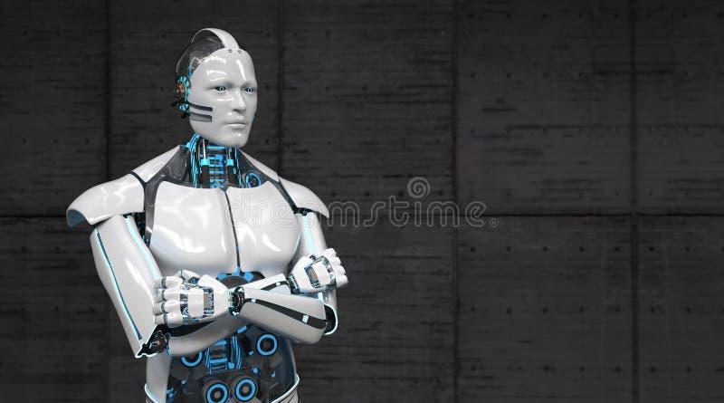 Robot Krzyżować ręki ilustracja wektor