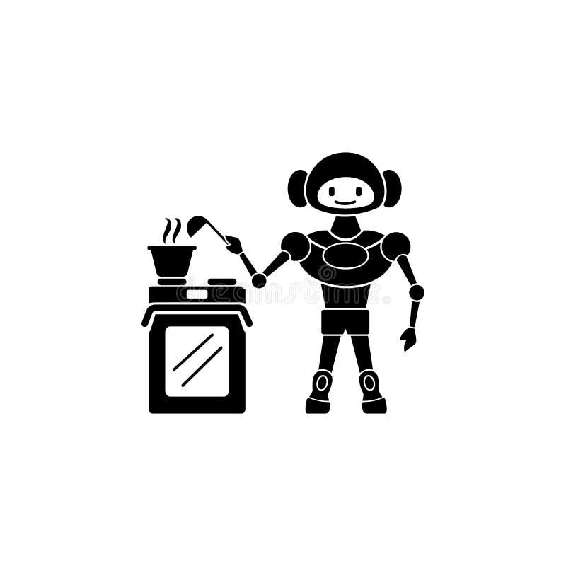 robot kucbarska ikona Element domowa robot ikona dla mobilnych pojęcia i sieci apps Szczegółowa robota kucharza ikona może używać royalty ilustracja