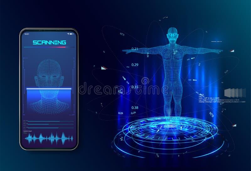 robot Kunstmatige intelligentie Biometrische identificatie of het Gezichtsconcept van het erkenningssysteem Concept stock illustratie