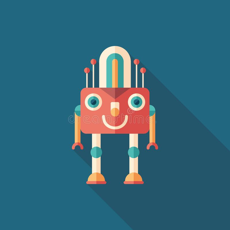 Robot lamp flat square icon with long shadows. royalty free illustration