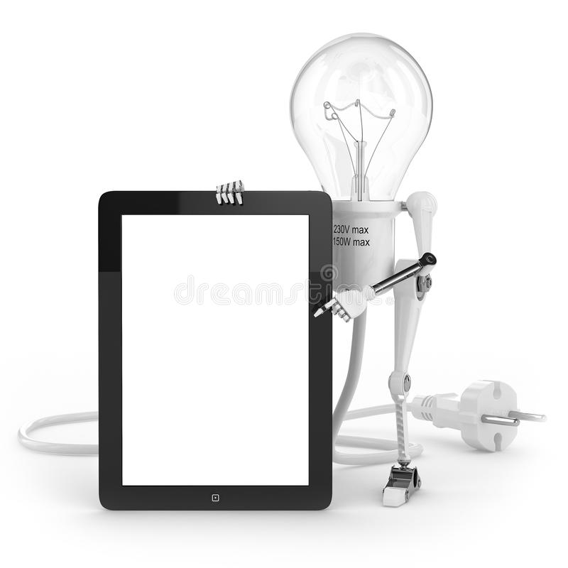 Download Robot Lamp Show Info On Tablet PC Royalty Free Stock Photography - Image: 34955227