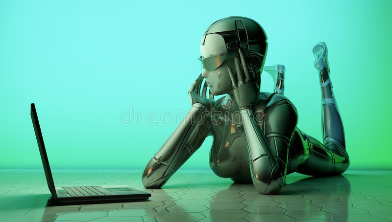 The robot with a laptop vector illustration