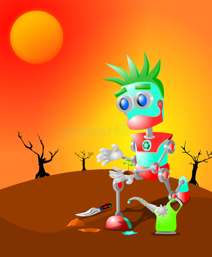 Download Robot and the last plant stock illustration. Image of illustrator - 32421393