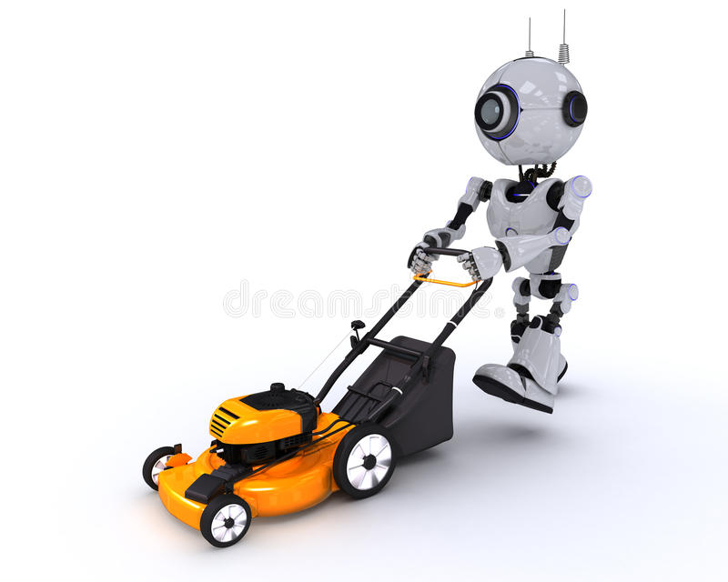 Robot with lawn mower royalty free illustration