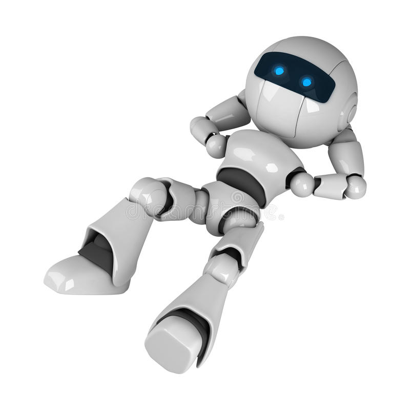 Robot laying down stock illustration