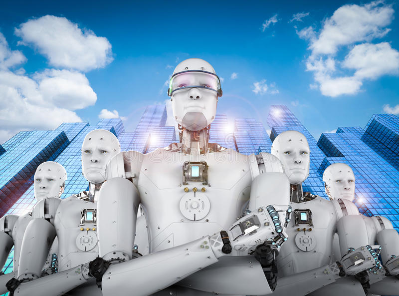 Robot leader with team. 3d rendering android robot leader with team stock photos