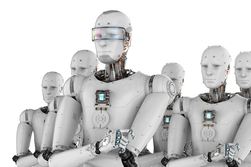 Robot leader with team. 3d rendering android robot leader with team stock image