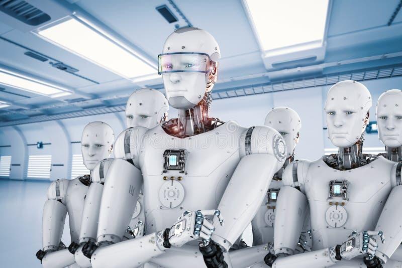 Robot leader with team vector illustration