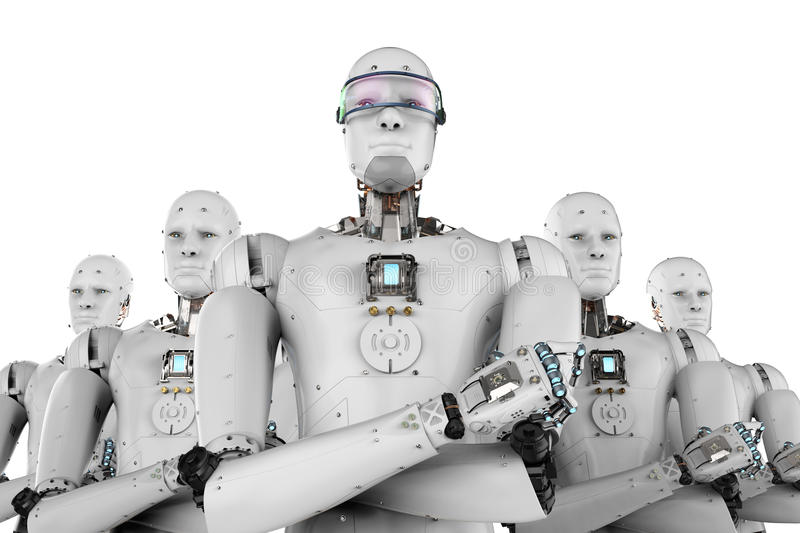 Robot leader with team. 3d rendering android robot leader with team stock images