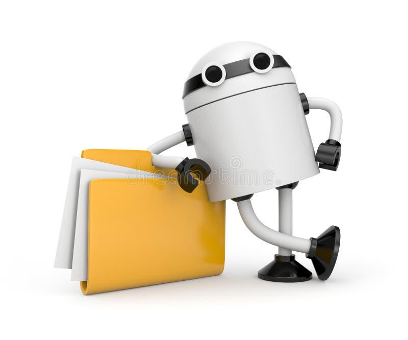Robot leaning on a folder royalty free illustration
