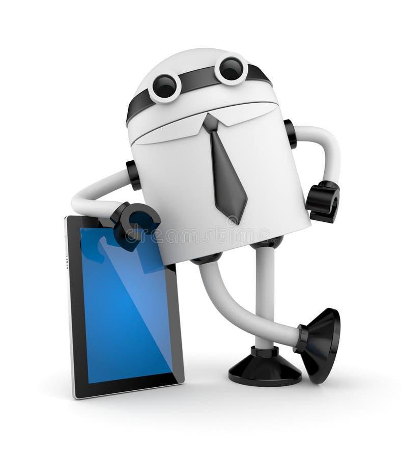 Download Robot leaning on PAD stock illustration. Illustration of digital - 27095213